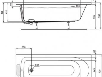 BAIGNOIRE ALTERNA VERSEAU 170x70 Plan